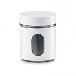 Bocal de cuisine design métal blanc et verre Zeller 600 ml