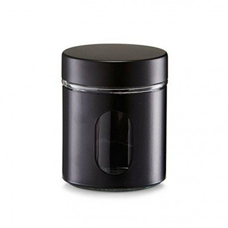 Bocal de cuisine noir design métal et verre Zeller 600 ml