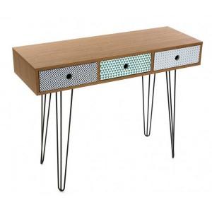 Table d'entrée 3 tiroirs multicolores design en bois et métal noir Versa Cosenza