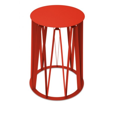 table d appoint tole laqu e presse citron achille rouge. Black Bedroom Furniture Sets. Home Design Ideas