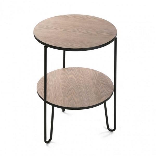 Table d appoint ronde en bois double plateau versa 10850020 - Table d appoint ronde ...