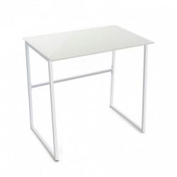 Petite table de bureau blanche verre et métal Versa