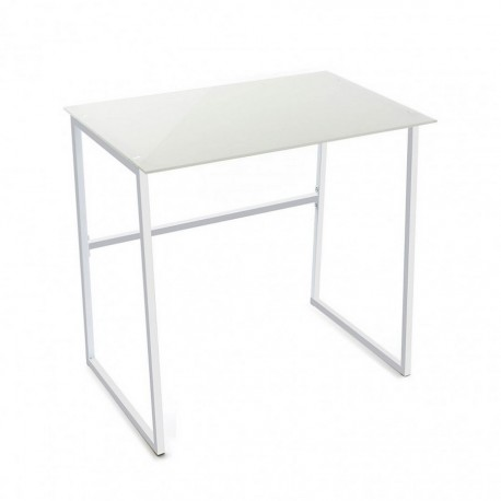 petite table de bureau blanche verre et metal versa 20880004. Black Bedroom Furniture Sets. Home Design Ideas