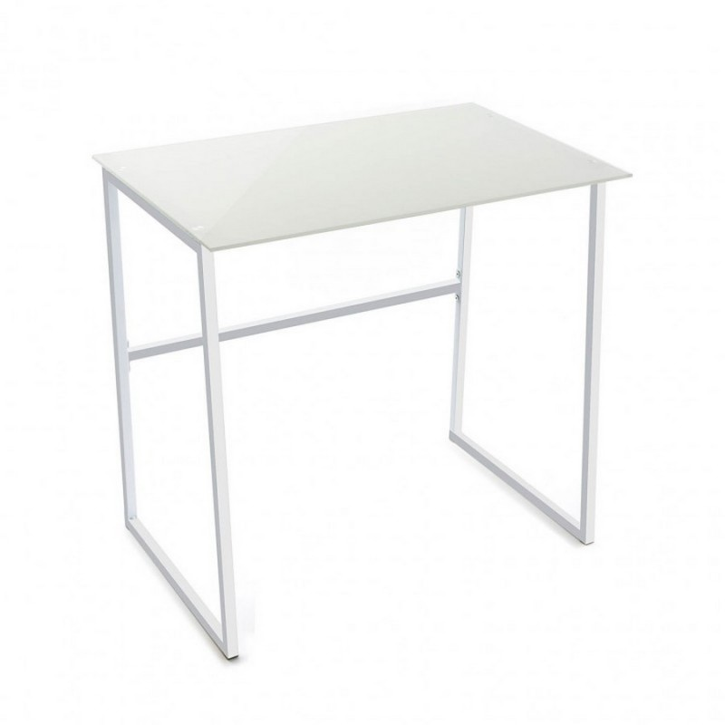 petite table de bureau blanche verre et metal versa 20880004