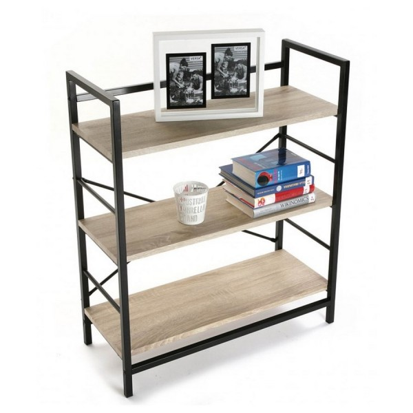 etagere bois structure metal noir 3 niveaux versa 20880012. Black Bedroom Furniture Sets. Home Design Ideas