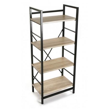 etagere metal noir bois 4 niveaux versa 20880011