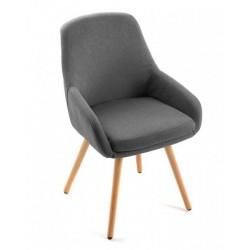 Chaise fauteuil gris fonce bois versa lerwi 18400212