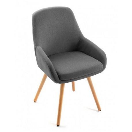 Chaise fauteuil gris fonce bois versa lerwi 18400212 - Chaise bois gris ...
