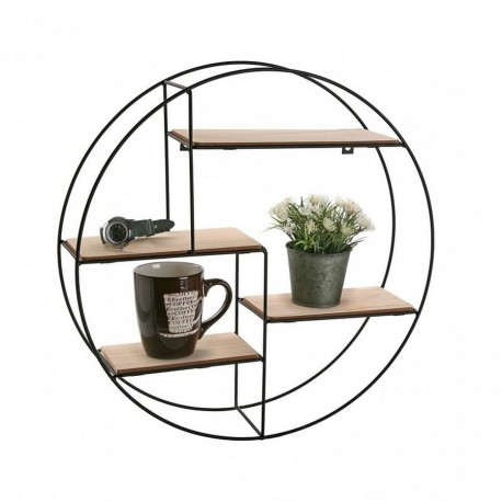 etagere murale ronde metal noir bois mdf versa 20850021. Black Bedroom Furniture Sets. Home Design Ideas