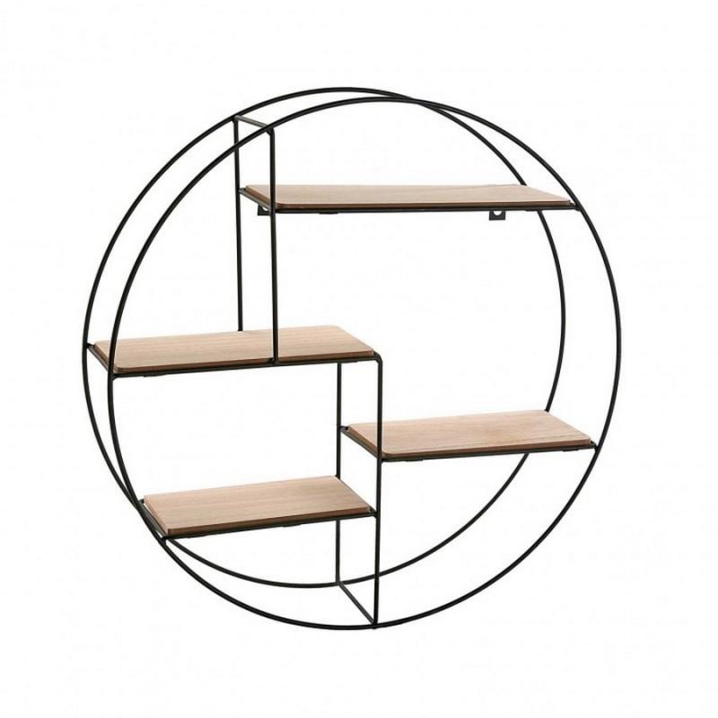etagere murale ronde metal noir bois mdf versa 20850021. Black Bedroom Furniture Sets. Home Design Ideas