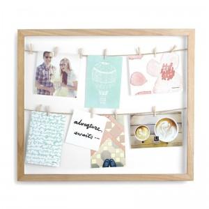 Pêle-mêle photos cadre en bois avec cordes et pinces à linge Umbra Clothesline