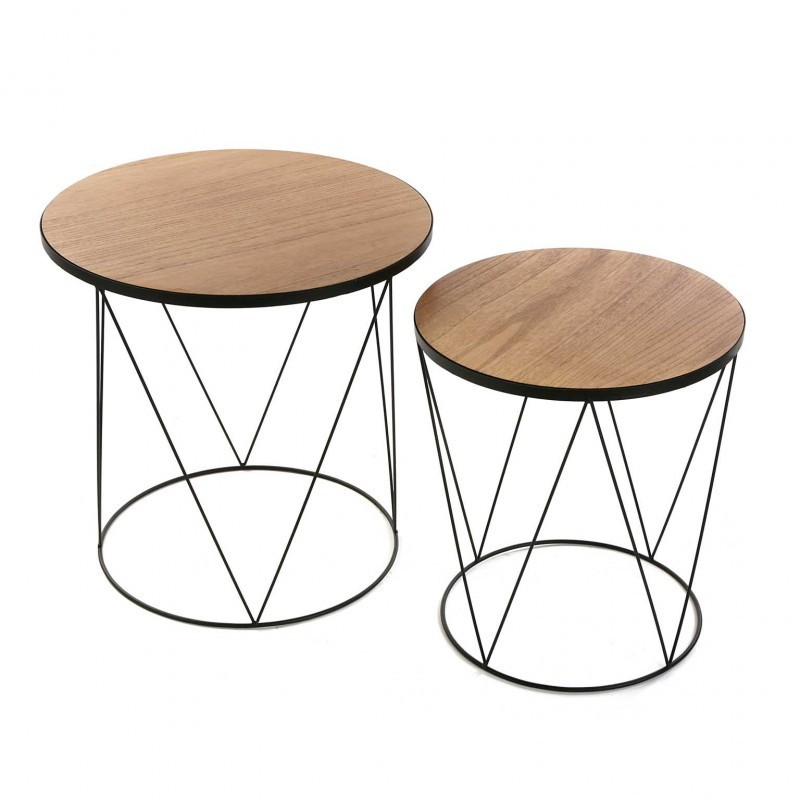 Set De 2 Tables Basses Rondes Bois Metal Noir Black Wire Versa