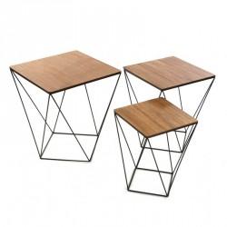 Set de 3 tables basses graphiques métal et bois Versa Black Wire