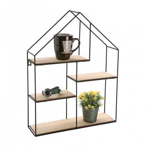 etagere murale en forme de maison metal et bois versa 20850022. Black Bedroom Furniture Sets. Home Design Ideas