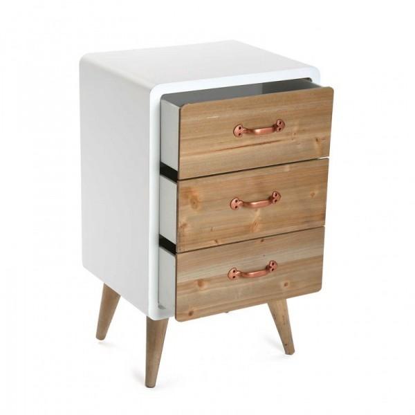 Petit meuble de rangement 3 tiroirs bois et bois laque blanc versa 21120021 - Meuble blanc laque et bois ...