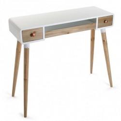 Table bureau console avec tiroirs design scandinave bois et bois blanc Versa Treveris