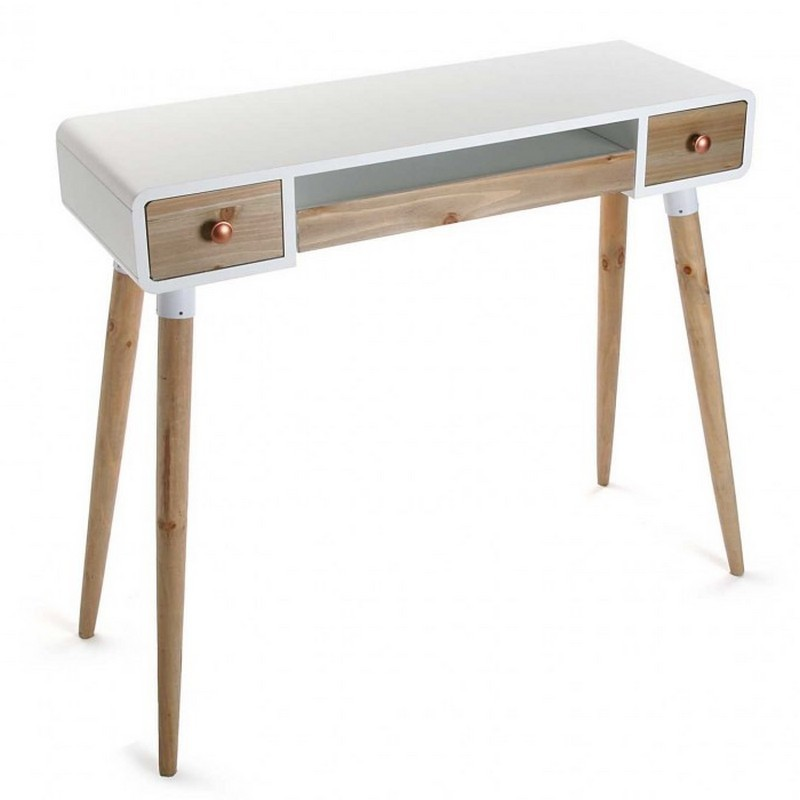 Table bureau console avec tiroirs design scandinave bois for Petite table scandinave