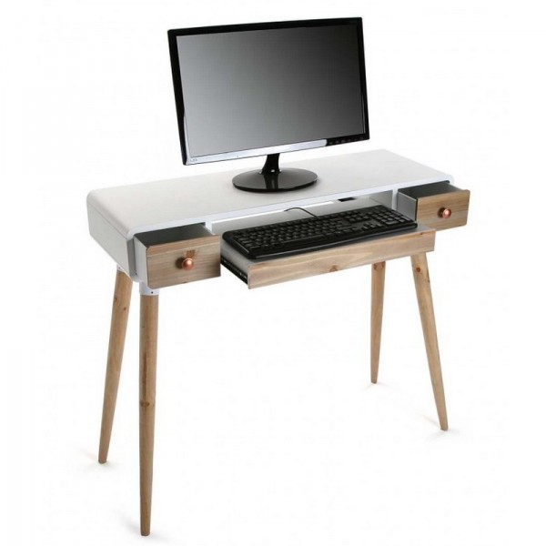 Table bureau console avec tiroirs design scandinave bois for Table bureau