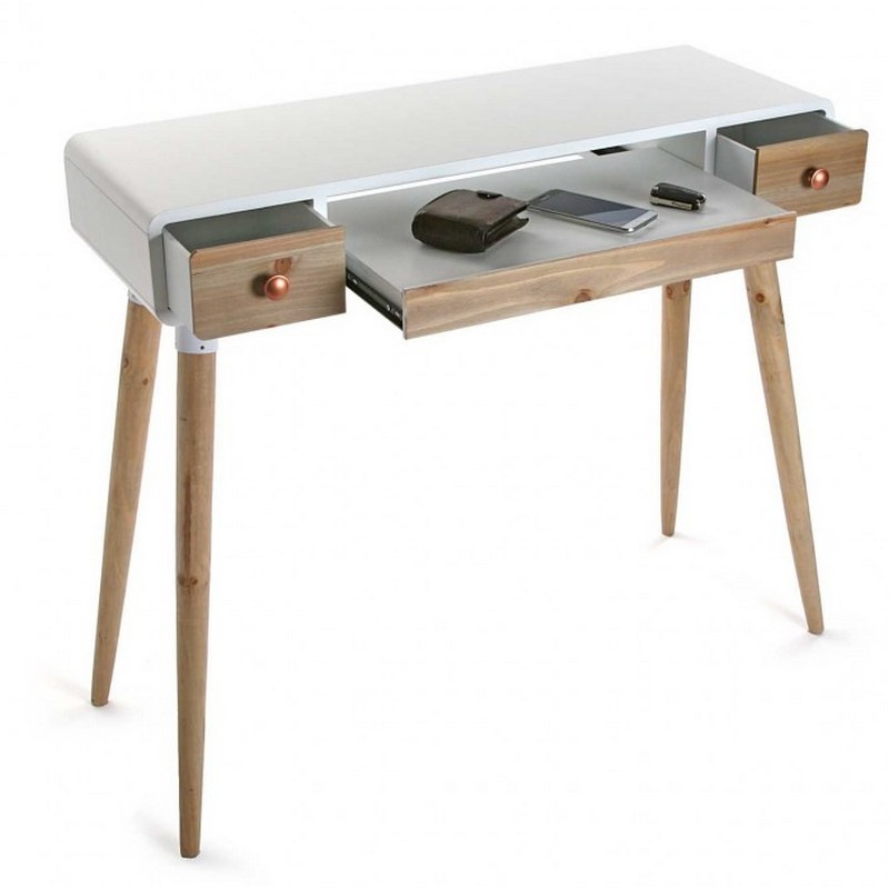 Table bureau console avec tiroirs design scandinave bois for Table scandinave blanc et bois