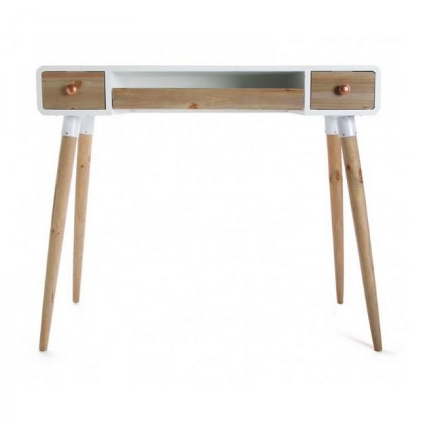 Table bureau console avec tiroirs design scandinave bois - Table console avec tiroir ...