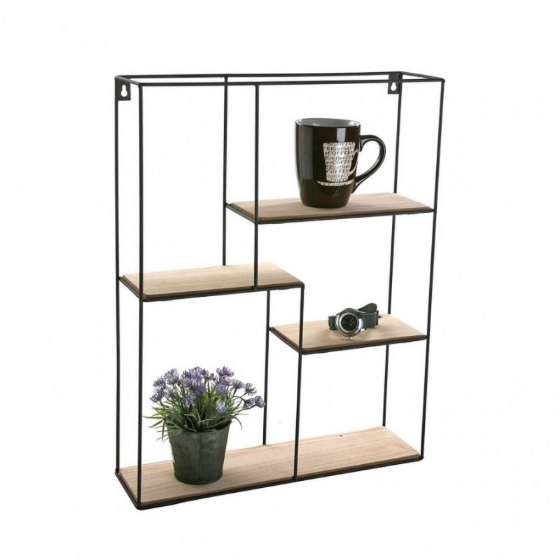 etagere murale graphique metal noir et bois mdf vera 20850020. Black Bedroom Furniture Sets. Home Design Ideas