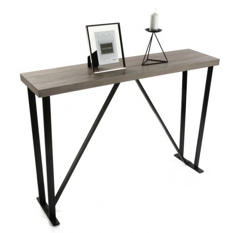 console entree metal noir graphique et bois mdf versa 20360080. Black Bedroom Furniture Sets. Home Design Ideas