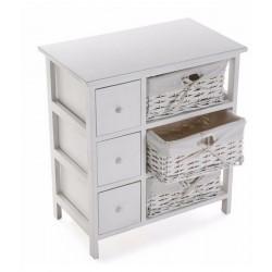 Commode de rangement bois blanc avec 3 paniers tressés et 3 tiroirs Versa