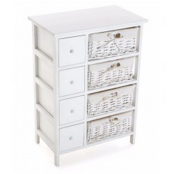 Meuble de rangement bois blanc 4 paniers tressés et 4 tiroirs Versa