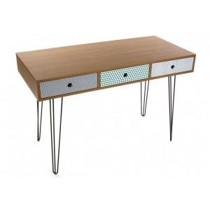 Table de bureau design scandinave 3 tiroirs multicolores versa 21090003 kde - Bureau original design ...