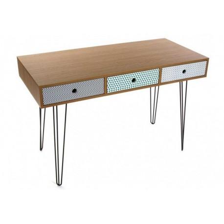 table de bureau design scandinave 3 tiroirs multicolores versa 21090003 - Bureau Design Scandinave