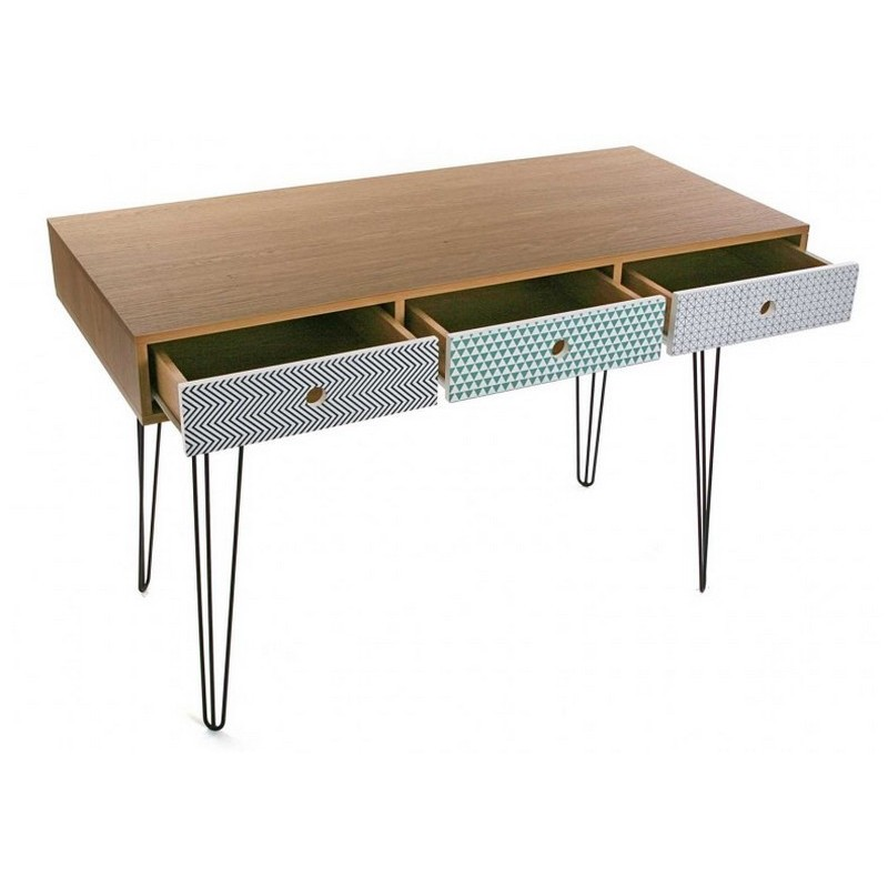 table de bureau design scandinave 3 tiroirs multicolores On table de bureau design