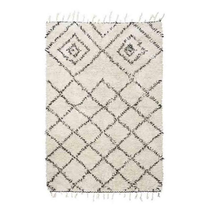 tapis blanc et noir coton house doctor kuba 140 x 200 cm. Black Bedroom Furniture Sets. Home Design Ideas
