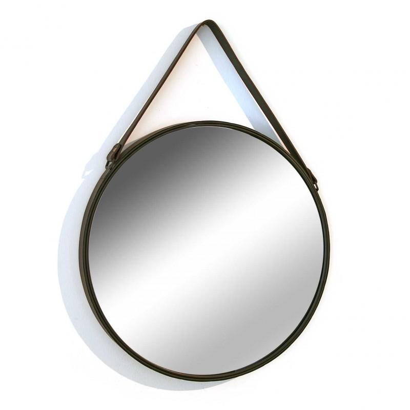 Miroir mural rond avec anse en simili cuir versa d 50 cm for Miroir rond 50 cm