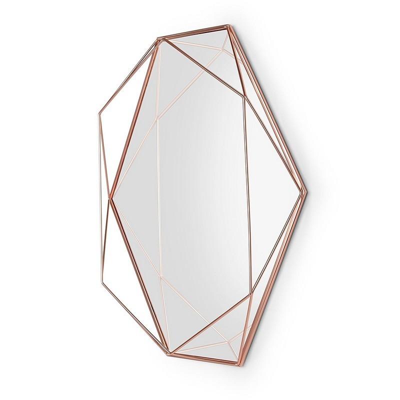 Miroir mural graphique geometrique metal cuivre umbra for Miroir geometrique