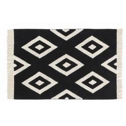 lorena canals tapis lavable noir et blanc losanges 140 x 200 cm