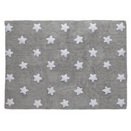 Tapis chambre enfant gris étoiles blanches coton Lorena Canals 120 x 160 cm