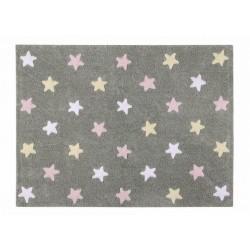 Tapis enfant gris étoiles tricolores rose blanc jaune Lorena Canals 120 x 160 cm