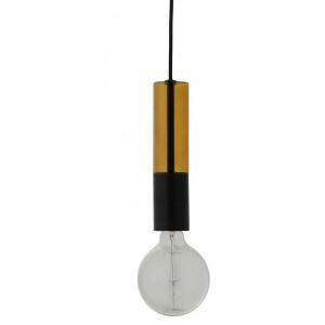 Suspension épurée ampoule en verre ambré et métal noir Frandsen Freja