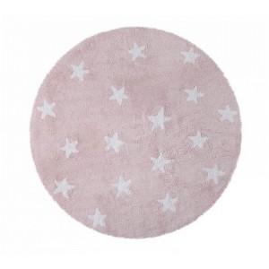 tapis enfant rond rose en coton etoiles blanches lorena canals d 140 cm