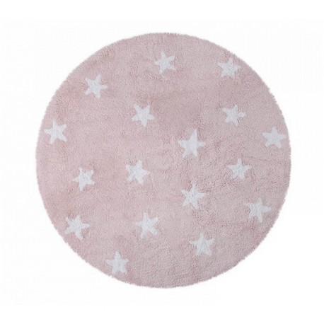 tapis enfant rond rose en coton etoiles blanches lorena canals d 140 cm. Black Bedroom Furniture Sets. Home Design Ideas