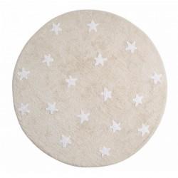 tapis enfant coton rond beige etoiles blanches lavable en machine lorena canals d 140 cm