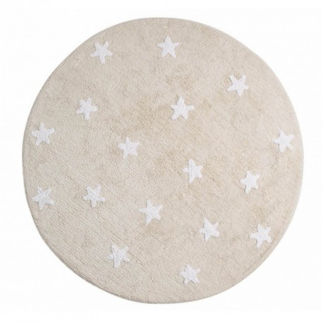 tapis enfant coton rond beige etoiles blanches lavable en machine lorena canals d 140 cm. Black Bedroom Furniture Sets. Home Design Ideas