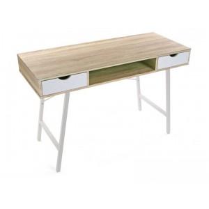 table de bureau scandinave bois et metal blanc versa. Black Bedroom Furniture Sets. Home Design Ideas