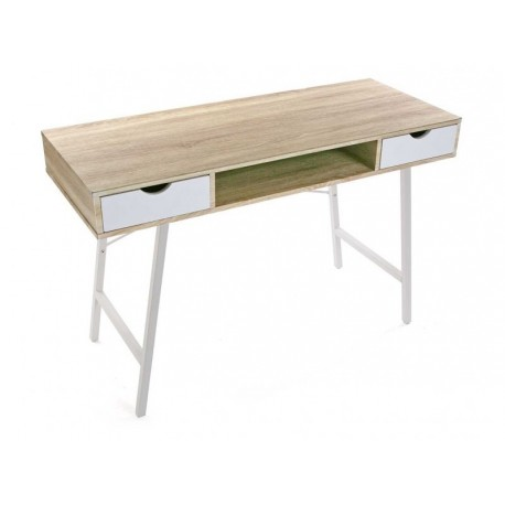 table de bureau scandinave bois et metal blanc versa. Black Bedroom Furniture Sets. Home Design Ideas