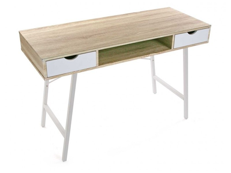Table de bureau scandinave bois et metal blanc versa