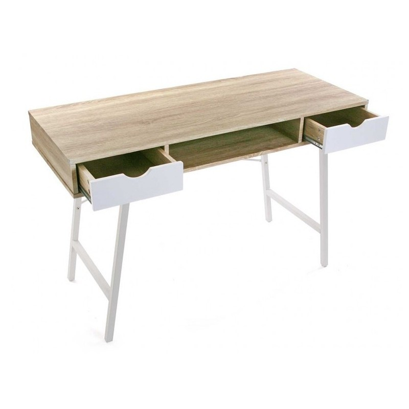 Table de bureau scandinave bois et metal blanc versa for Table scandinave bois
