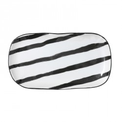 Plat rectangulaire porcelaine noir et blanc HK Living Stripes 25 x 13.5 cm