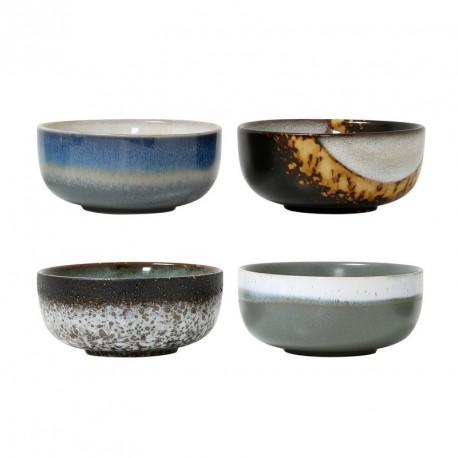 hk living set de 4 bols 70 s ceramique