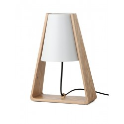 Lampe de table épurée bois métal blanc Bend Frandsen