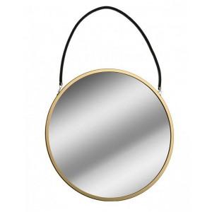 Miroir mural rond métal doré suspendu par une corde noire Versa D 43 cm